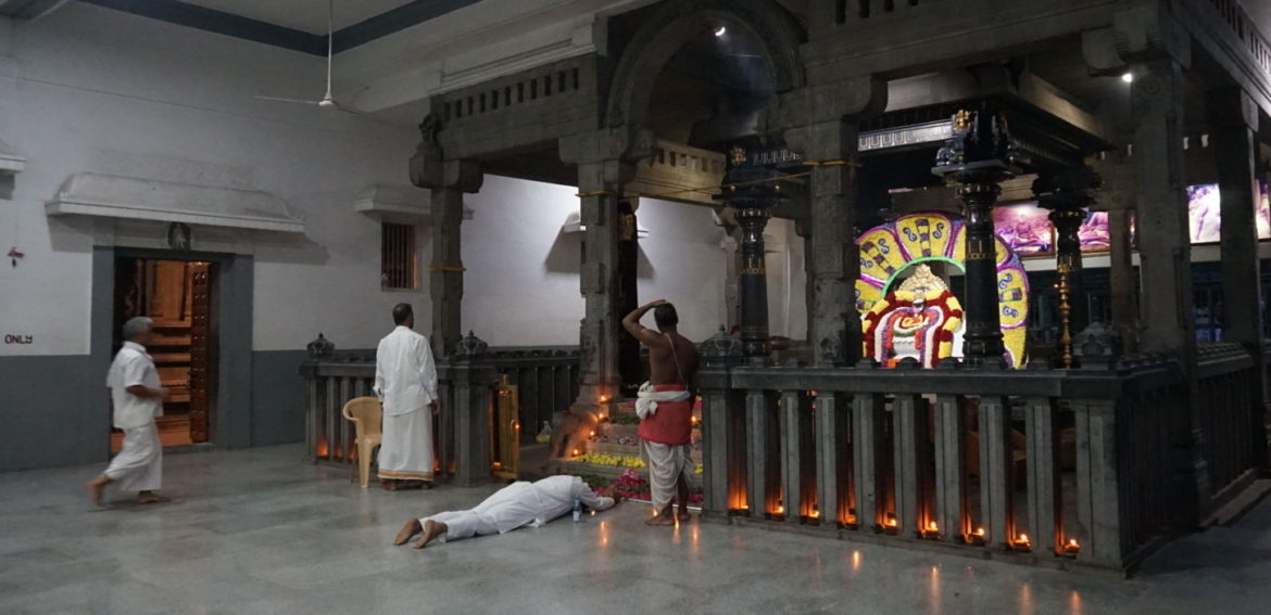 Prostration at Sri Bhagavan's shrine